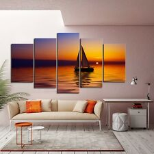 Framed Home Decor Canvas Print Painting Wall Art Sea Sunset Sailboat View