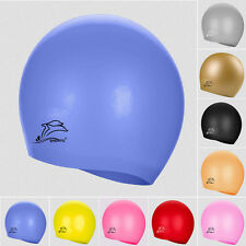 Kids/Adults Sports Silicone Swim Cap Durable Elasticity Swimming Hat in 10 Color