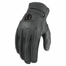 Icon 1000 Mens Grey Leather Rimfire Motorcycle Gloves