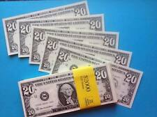 DOUBLE SIDED STACK OF $20 BILLS. Fun/Fake/Money/Dollars/Party/Novelty/Stag/Hen