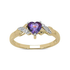 9CT GOLD HEART SHAPED AMETHYST & DIAMOND ENGAGEMENT RING SIZES HIKLMOPQRST