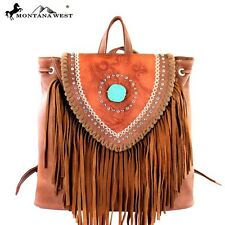 Montana West Leather Fringe Turquoise Backpack Purse,Black,Coffee Brown,New