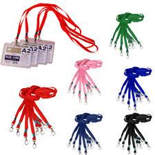 10Pcs Polyester Lanyard ID Badge Holder Case Neck Strap String With Metal Clasp