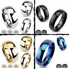 Ring Stainless Steel 4,6 or 8 mm wide Black Gold Silver Blue rounded cambered