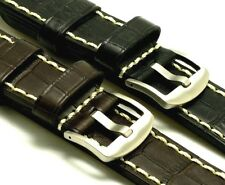 24mm Black Brown Croco Embossed Leather Contrast Stitch Watch Strap Steel Buckle