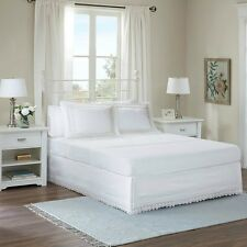 Deluxe Classic White Ivory Eyelet Lace Bedskirt Shams 3 pcs Cal King Queen Full