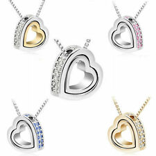 New Fashion Heart Rhinestone Crystal Charm Chain Pendant Clavicle Necklace