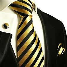 Silk Necktie Set by Paul Malone . Gold and Black Stripes
