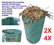 4X 2X 1X Foldable Lawn Garden Leaf Grass Bag 120 L Utility Sack Bin Yard Waste
