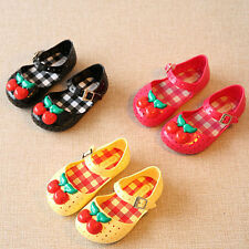 New Cute Kids Girls Cherry Ankle Strap Jelly Shoes Soft Hasp Sandals Princess