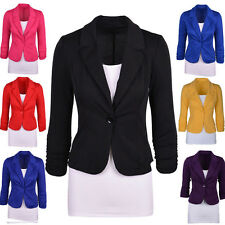 Womens Candy Color Blazer Jacket Suit Work Casual Busines Long Sleeve One Button