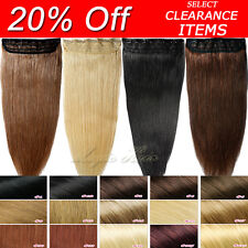 Excellent One Piece Clip in 100% Remy Human Hair Extensions Real 20% Off UK N540