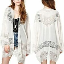 Women Casual Vintage Boho Kimono Cardigan Lace Crochet Chiffon Loose Blouse Top