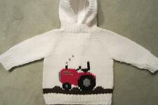 NEW! Hand Knit Baby Tractor Sweater back zip 6 or 12 month John Deere Green Red