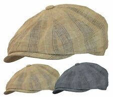 COTTON LINEN NEWSBOY GATSBY CAP PLAID GOLF IVY HAT CABBIE DRIVING FLAT SUMMER