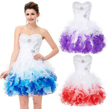 Strapless Organza Beaded Ball Cocktail Evening Prom Party Dress 8 Size 2~16
