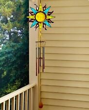 Glow in the Dark Wind Chime Garden Stake Peacock Sun Face Outdoor Porch Patio