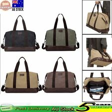 Mens Canvas Vintage Handbag Gym Travel Duffle Luggage Shoulder Sport Bag Case AU