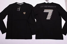 ARMANI EMPORIO Men T- SHIRT Crew Long Sleeve Stretch Muscle Fit Genuine Black