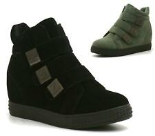 Ladies Ankle Boots Hidden Wedge Lace Up Hi Top Trainers Skater Shoes