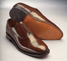 Samuel Windsor Mens Classic Oxford Handmade Chestnut Brown Leather Lace Up Shoes