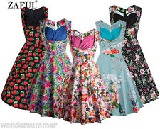 50s 60s Retro Floral Dress Pinup Sleeveless Vintage Housewife Dinner Swing Dress