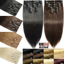 Big Discount 7/8pcs Clip in 100% Real Human Hair Extensions Remy Full Head SK015