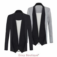 New Womens Ladies Knit Jersey Chiffon Neck Tee Layered Knitted Open Cardigan