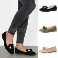 Womens ladies low heel flower jewelled gem smart loafers ballet flats shoes size
