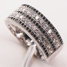 Black White Crystal Zircon 925 Sterling Silver  Ring