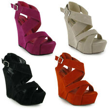 88Z WOMENS PEEP TOE PLATFORM STRAPPY BUCKLE WEDGE SHOES
