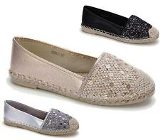 LADIES FLAT SHOES BALLET PUMPS BALLERINA DOLLY SLIP ON SEQUIN CASUAL SHOES SIZE