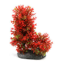 Plastic Aquarium Underwater Tree Plant Decorative Ornament w Ceramic Base