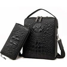 Crocodile Alligator Embossed Men Leather Briefcase Shoulder Messenger Bag Laptop