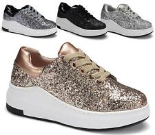 WOMENS CHUNKY SKATER GLITTER FLAT PUMPS SNEAKERS SPARKLE SLIP ON CASUAL SIZE