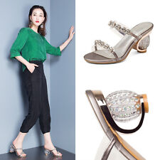 Womens Lady Leather Glitter Rhinestone High Heel Mules Hollow Out Sandals Shoes