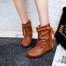 US Size 5-15 Womens Synthetic Leather Low Heels Wedges Mid-calf Boots Lady Shoes