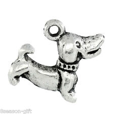 "Wholesale Lots Charm Pendants Dog Silver Tone 18mmx15mm(6/8""x5/8"")"