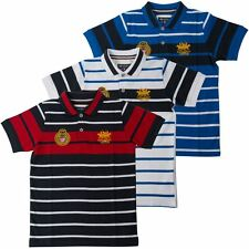 Santa Monica Polo Club Boys Casual Striped Short Sleeve Polo Shirt Collar Top