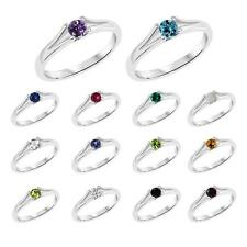 Sterling Silver 925 Round Gemstone Split Shank Birthstone Ring - Your Choice