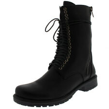 Womens Punk Lace Up Rock Army Combat Zip Military Retro Mid Calf Boots US 5-12