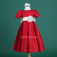 RED IVORY FLOWER GIRL DRESS HOLIDAY WEDDING PAGEANT SATIN 6M 12M 18M 2 4 6 8 10