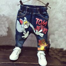 Cartoon Tom and Jerry 2-7Yrs Children Pants Trousers 2016 Baby Boys Girls Jeans