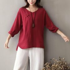 V-neck Long sleeve Solid Women Blouse Shirt Chinese style Button Cotton Linen