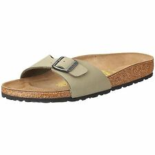 Birkenstock Madrid Nubuck Sandals Womens Kahki Mules Clogs Shoes Footwear