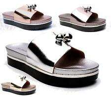 WOMENS LADIES NEW SUMMER FLAT SLIP ON METALLIC BEACH HOLIDAY SANDALS SHOES SIZE