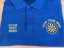 Personalised Embroidered Darts Shirt Polo Shirt With Dartboard Sizes XS TO 4XL