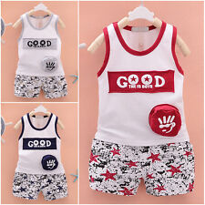 Summer Clothes Cool Letter Printing Baby Boys Cotton Vest Tops+Shorts Outfit Set