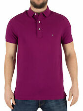 Tommy Hilfiger Men's Luxury Pique Slim Fit Logo Polo Shirt, Purple