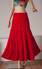 Maxi Long tiered gypsy Skirt- size 10 12 14 16 18 20 22- Red Hippy Ladies